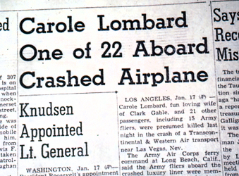 Newspaper Coverage of Lombard's Death