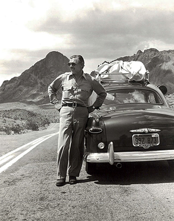 Gable with his car, 1951