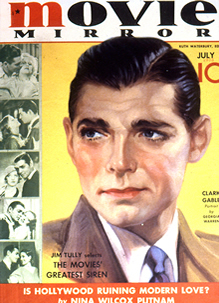 Clark Gable on Cover of Screenland Magazine